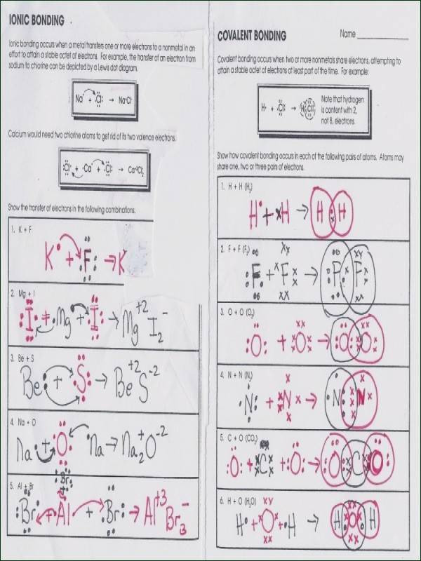 Ionic Bonds Worksheet Answers Ionic and Covalent Bonds Worksheet Answers Worksheet List