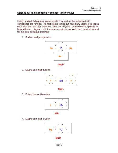 Ionic Bonds Worksheet Answers Page 2 Science 10 Ionic Bonding Worksheet Answer Key
