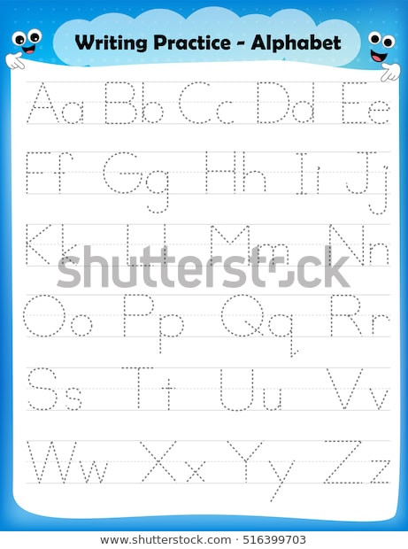 Letter and Number Tracing Worksheets Alphabet Letters Tracing Worksheet All Alphabet เวกเตอร์สต็