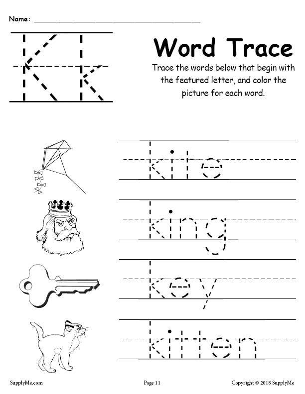 Letter and Number Tracing Worksheets Letter K Words Alphabet Tracing Worksheet
