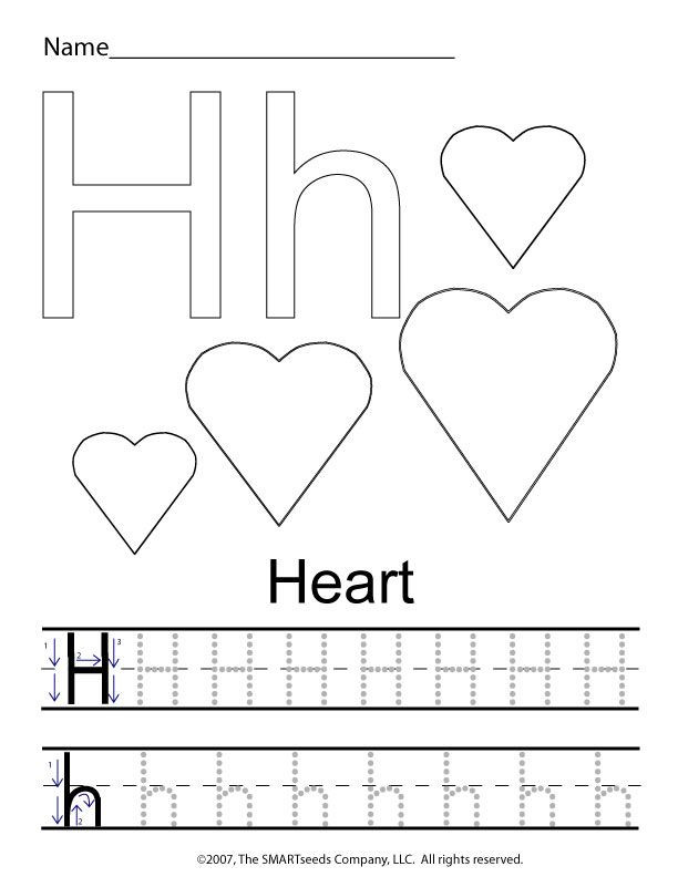 Letter H Tracing Worksheets Preschool the Letter H Trace Hearts