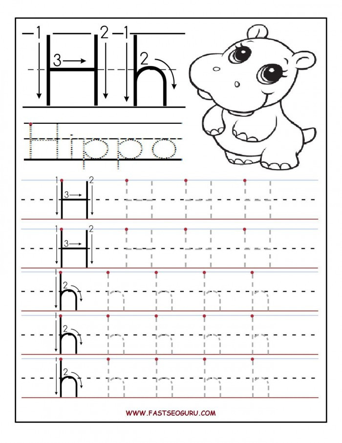 Letter H Tracing Worksheets Preschool Trace and Write the Letter H Worksheets