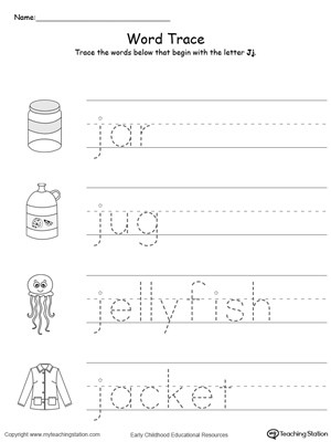 Letter J Tracing Worksheets Preschool Trace Words that Begin with Letter sound J