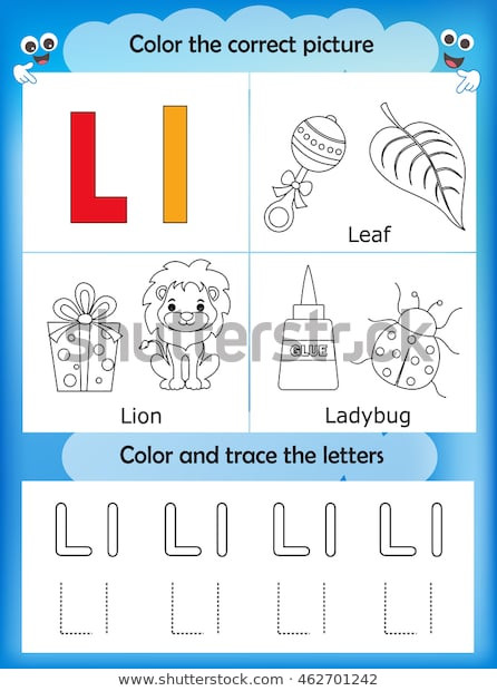 Letter L Worksheet for Preschool Alphabet Learning Letters Coloring Graphics Printable เวก