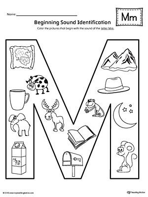 Letter M Worksheets Preschool Letter M Beginning sound Color Worksheet