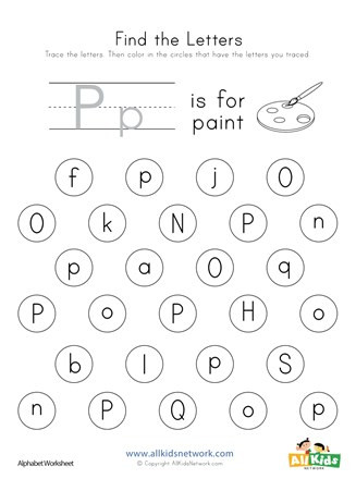Letter P Preschool Worksheets Find the Letter P Worksheet