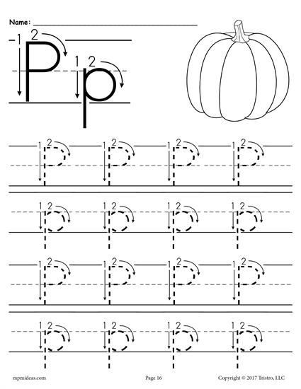 Letter P Tracing Worksheets Printable Letter P Tracing Worksheet with Number and Arrow