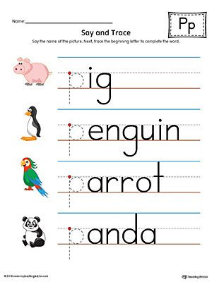 Letter P Tracing Worksheets Say and Trace Letter P Beginning sound Words Worksheet