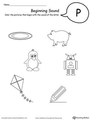 Letter P Worksheets for toddlers Beginning sound Of the Letter P