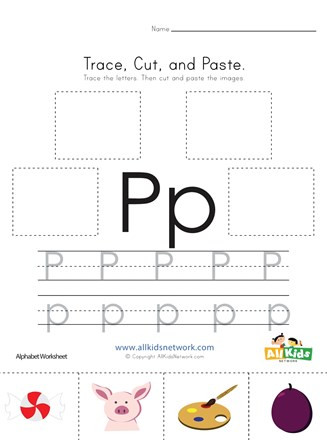 Letter P Worksheets for toddlers Trace Cut and Paste Letter P Worksheet