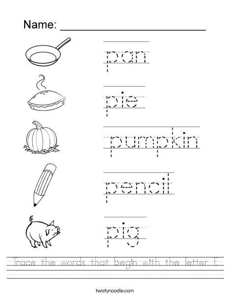 Letter P Worksheets for toddlers Trace the Words that Begin with the Letter P Worksheet
