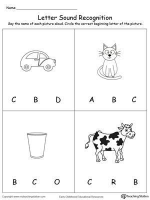Letter sound Recognition Worksheets Recognize the sound Of the Letter C