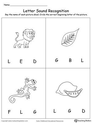 Letter sound Recognition Worksheets Recognize the sound Of the Letter L