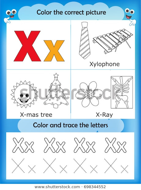 Letter X Worksheets for Preschool Alphabet Learning Letters Coloring Graphics Printable