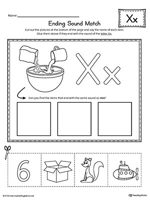 Letter X Worksheets for Preschool Letter X Ending sound Picture Match Worksheet