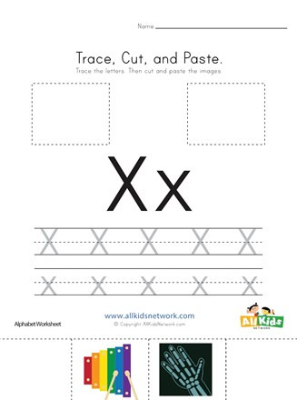Letter X Worksheets for Preschool Trace Cut and Paste Letter X Worksheet
