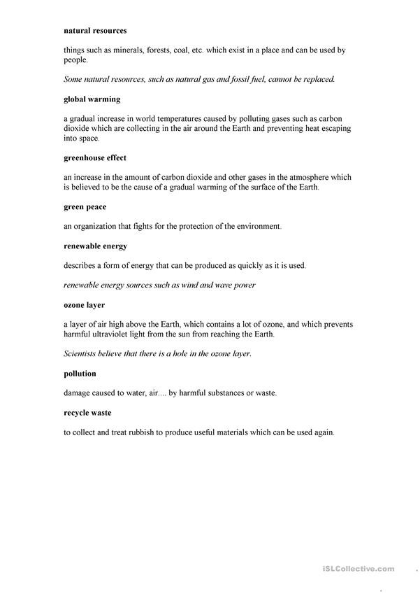 Levels Of Ecological organization Worksheet Environment and Ecology English Esl Worksheets for