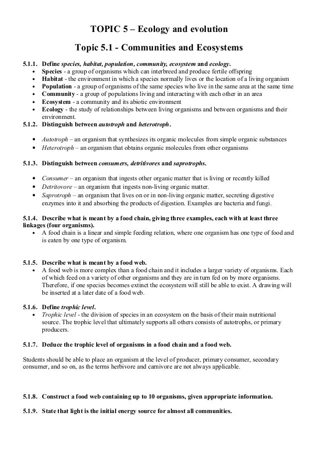 Levels Of Ecological organization Worksheet topic 5 Ecology & Evolution Notes