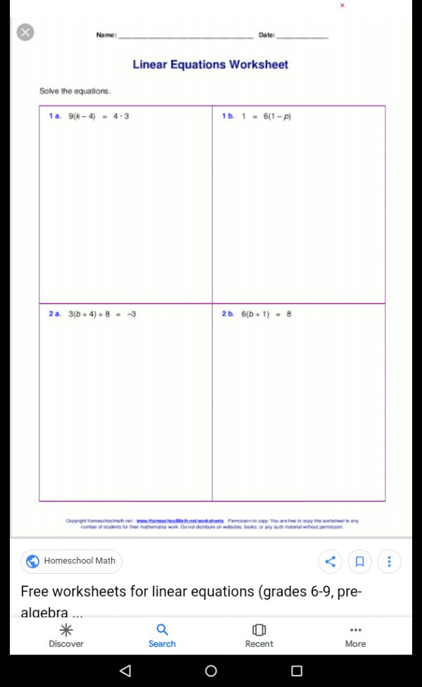 Linear Equations Worksheet with Answers Dear Expert Please solve these Questions Linear Equations