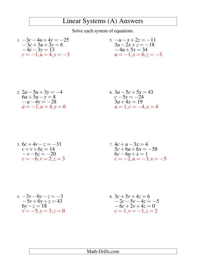 Linear Equations Worksheet with Answers the Systems Linear Equations Three Variables Including