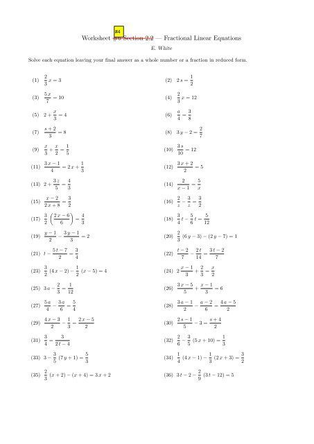 "Linear Equations Worksheet with Answers Worksheet 6 Section 2 2 ¢€"" Fractional Linear Equations"