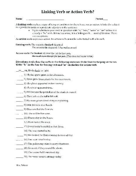 Linking and Helping Verbs Worksheet Action Linking Verbs Worksheets – Keepyourheadup
