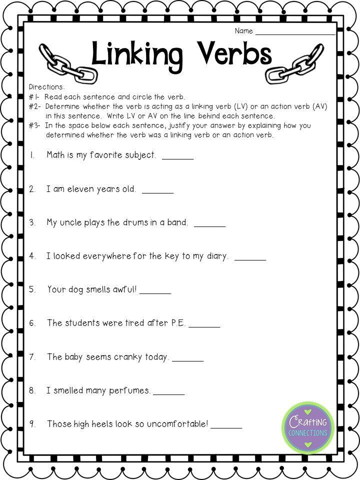 Linking and Helping Verbs Worksheet Linking Verbs Anchor Chart