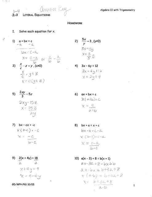 1 4 literal equations hw answers