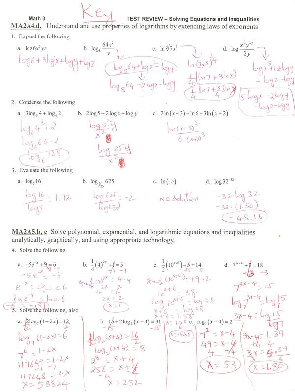 Logarithmic Equations Worksheet with Answers 8 6 solving Exponential and Logarithmic Equations Answers