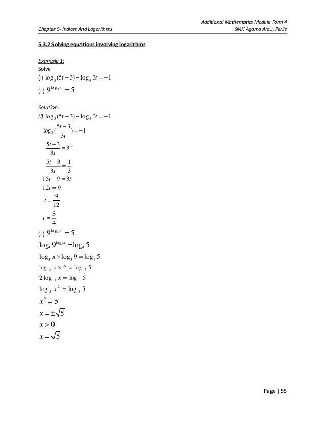 Logarithmic Equations Worksheet with Answers Chapter 5 Indices & Logarithms