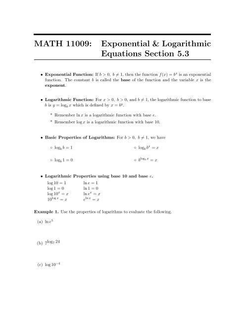 Logarithmic Equations Worksheet with Answers Exponential & Logarithmic Equations Section 5 3 Personal