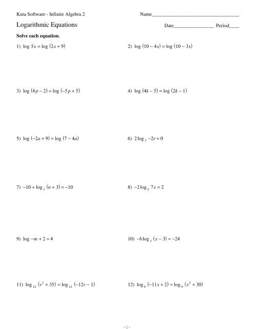 Logarithmic Equations Worksheet with Answers Logarithmic Equations Pdf Kuta software