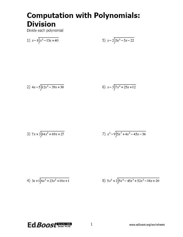 Long Division Of Polynomials Worksheet Putation with Polynomials Division