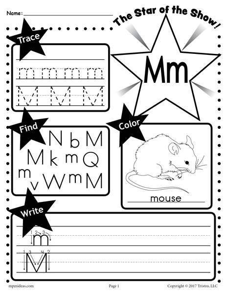 M Worksheets Preschool Letter M Worksheet Tracing Coloring Writing & More