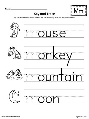 M Worksheets Preschool Say and Trace Letter M Beginning sound Words Worksheet