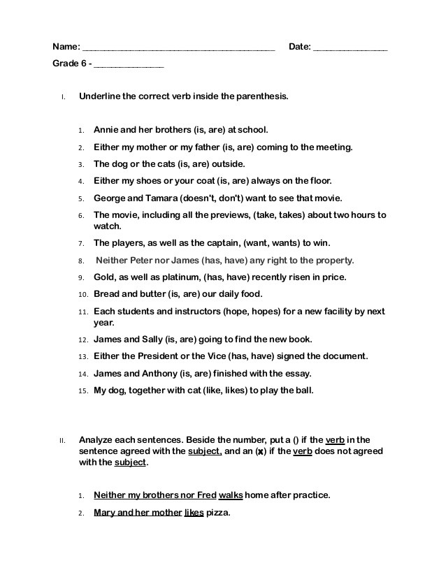 Macromolecules Worksheet High School Subject Verb Agreement Rules and Exercise with Answer