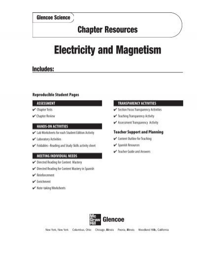 Magnetism Worksheet for High School Electricity and Magnetism Potosi School District Home