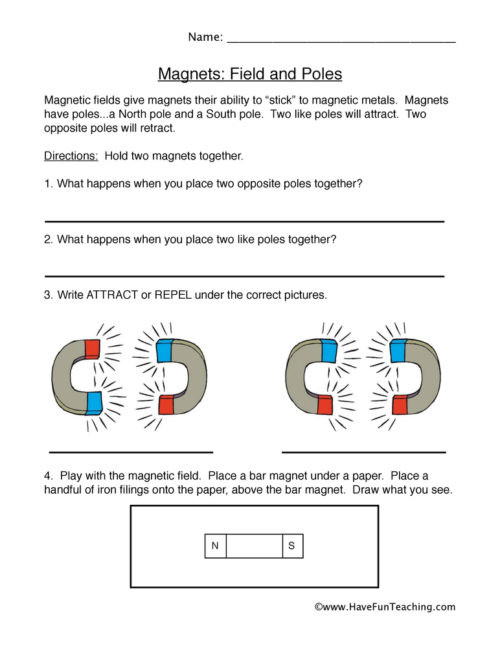 Magnetism Worksheet for High School force and Motion Worksheets • Have Fun Teaching