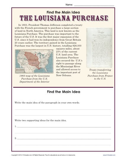 Main Idea Worksheet 2nd Grade 5th Grade Main Idea Worksheet About the Louisiana Purchase