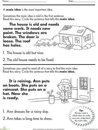 Main Idea Worksheet 2nd Grade Worksheets Story Prehension What S the Main Idea