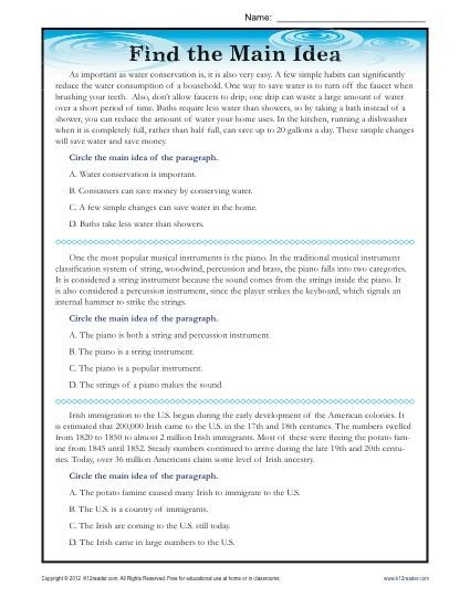 Main Idea Worksheets High School High School Main Idea Reading Passage Worksheet