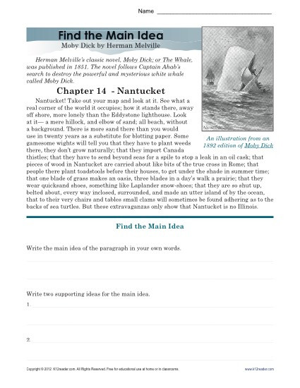 Main Idea Worksheets High School High School Main Idea Worksheet About Moby Dick