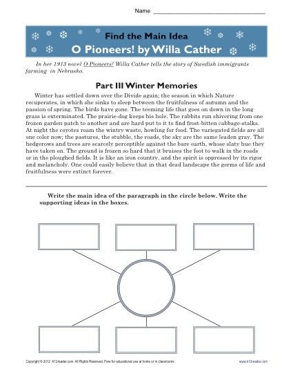 Main Idea Worksheets High School High School Main Idea Worksheet About O Pioneers