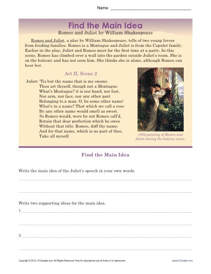 Main Idea Worksheets High School High School Main Idea Worksheet About Romeo & Juliet