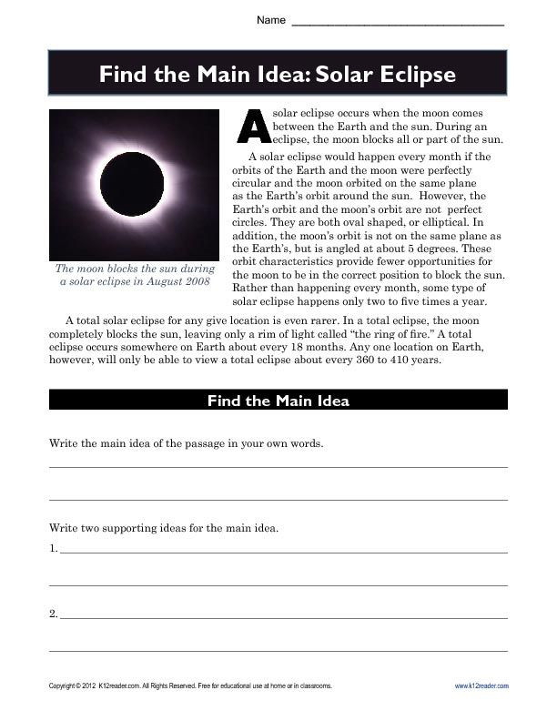 Main Idea Worksheets High School High School Main Idea Worksheet About solar Eclipses