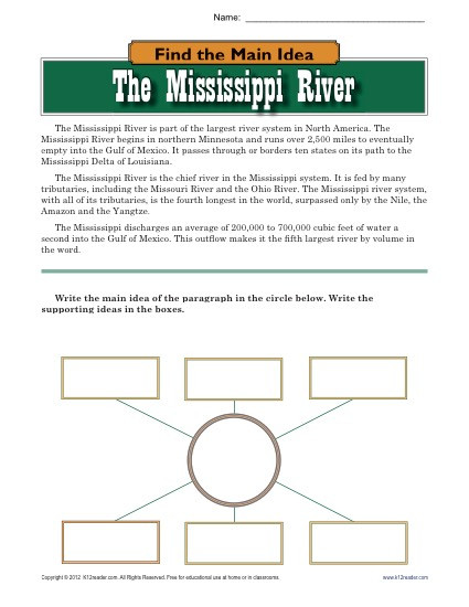 Main Idea Worksheets High School High School Main Idea Worksheet About the Mississippi River