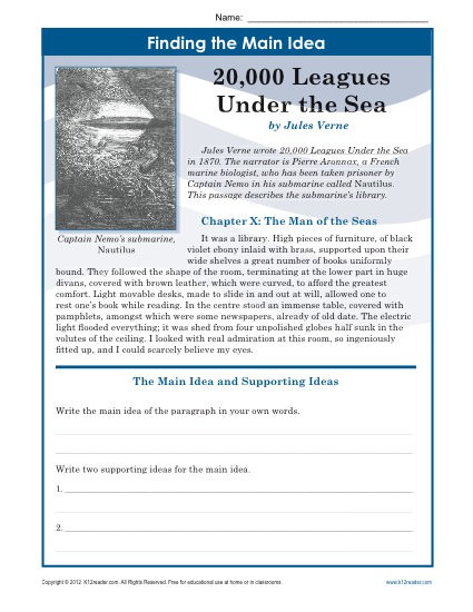 Main Idea Worksheets High School Middle School Main Idea Worksheet About 20 000 Leagues Under