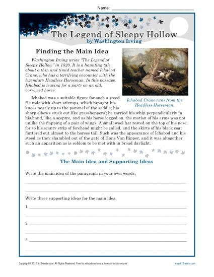 Main Idea Worksheets High School Middle School Main Idea Worksheet About the Legend Of Sleepy