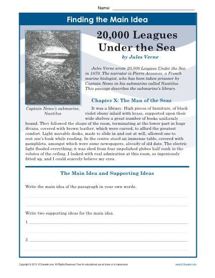 Main Idea Worksheets Middle School Middle School Main Idea Worksheet About 20 000 Leagues Under