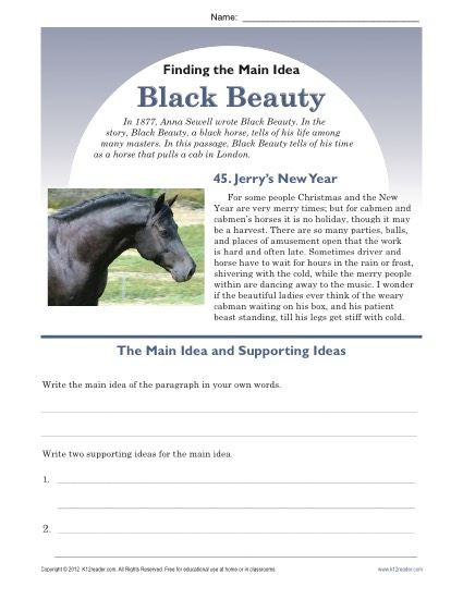Main Idea Worksheets Middle School Middle School Main Idea Worksheet About Black Beauty